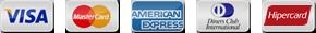Cartoes Visa, MasterCard, Amex, Diners e Hipercard